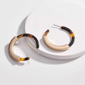 Jewelry - {Bowie} gold tortoise acrylic hoop earrings